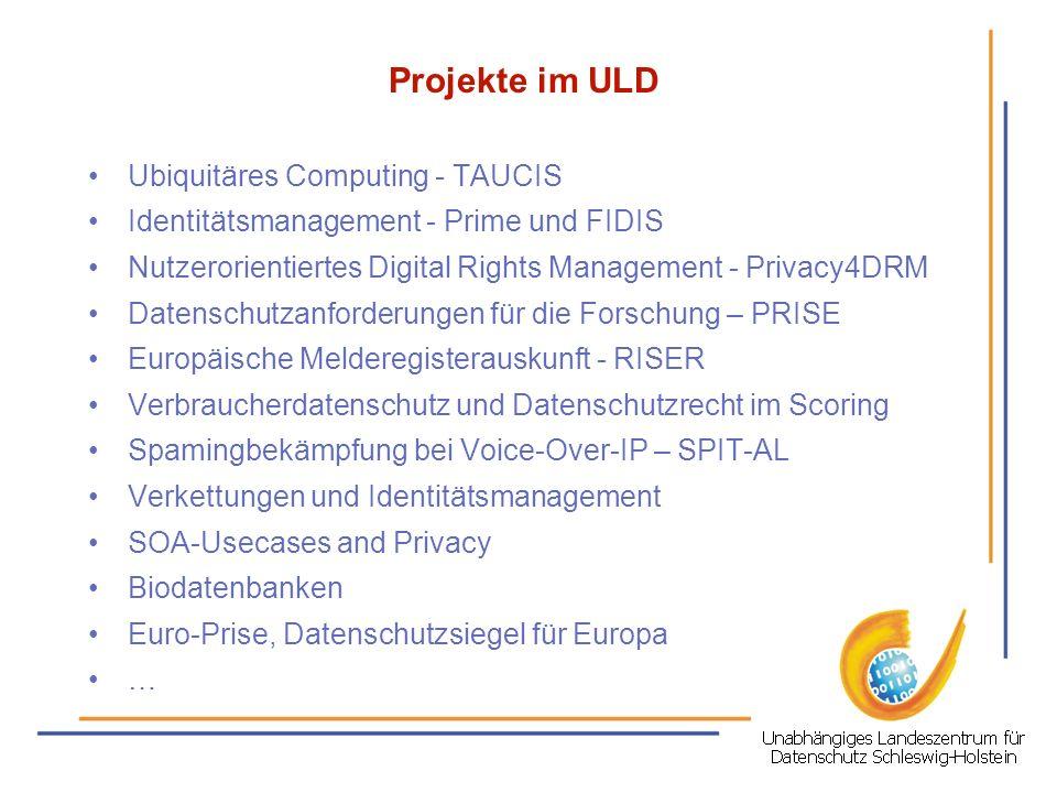 Projekte im ULD Ubiquitäres Computing - TAUCIS