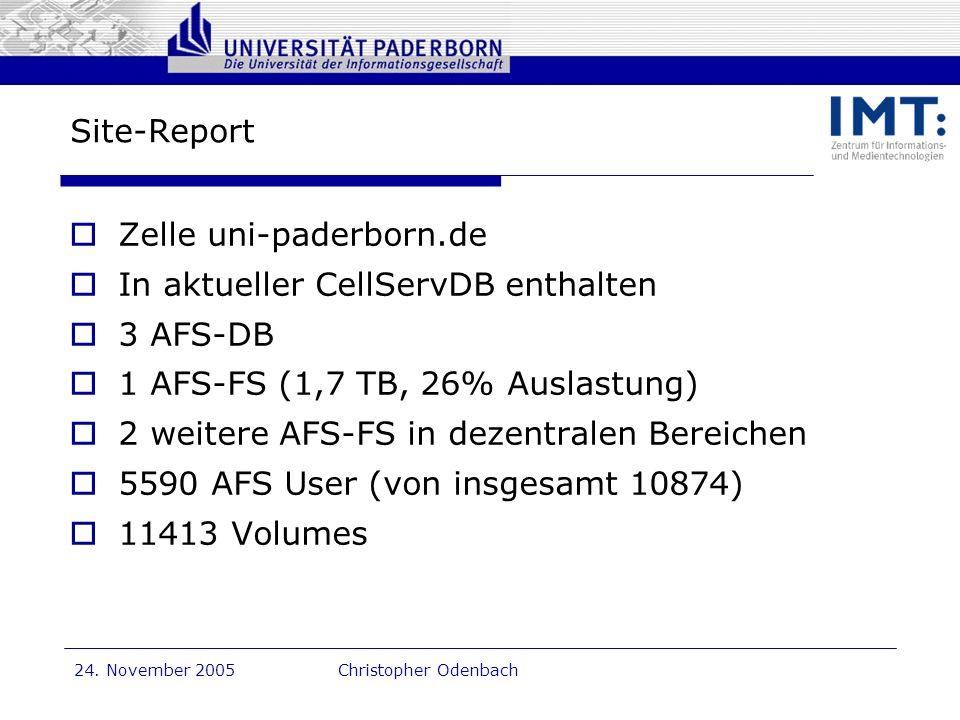 Zelle uni-paderborn.de In aktueller CellServDB enthalten 3 AFS-DB