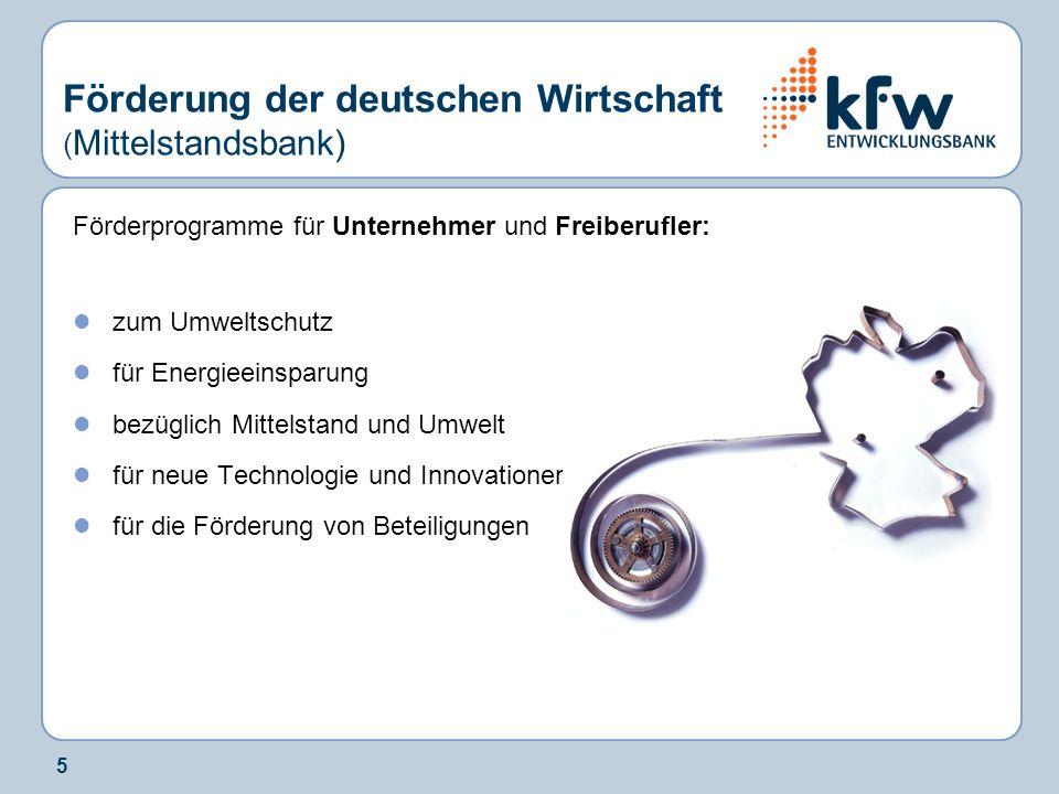 Förderung der deutschen Wirtschaft (Mittelstandsbank)