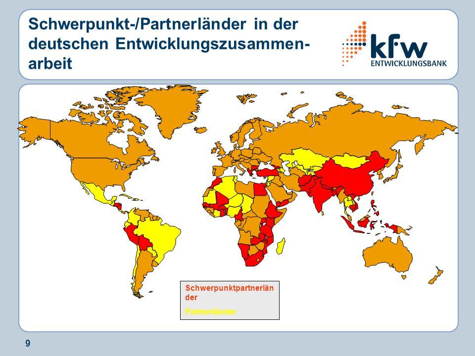 Schwerpunkt-/Partnerländer in der deutschen Entwicklungszusammen-arbeit