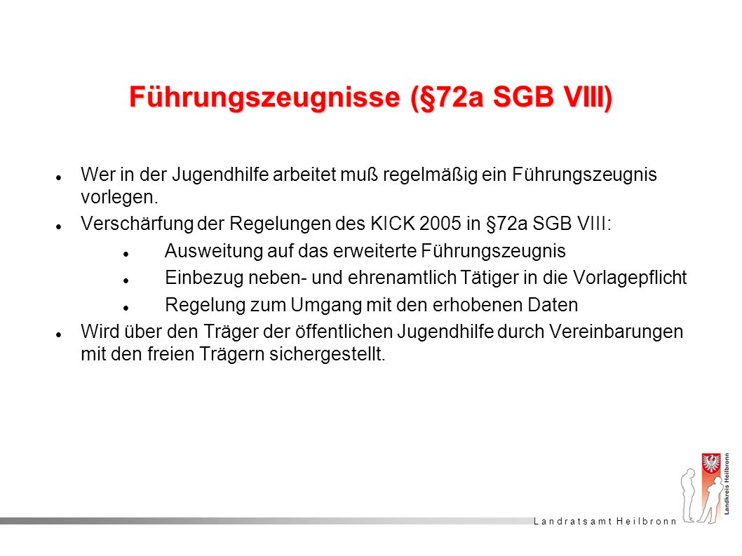 Führungszeugnisse (§72a SGB VIII)
