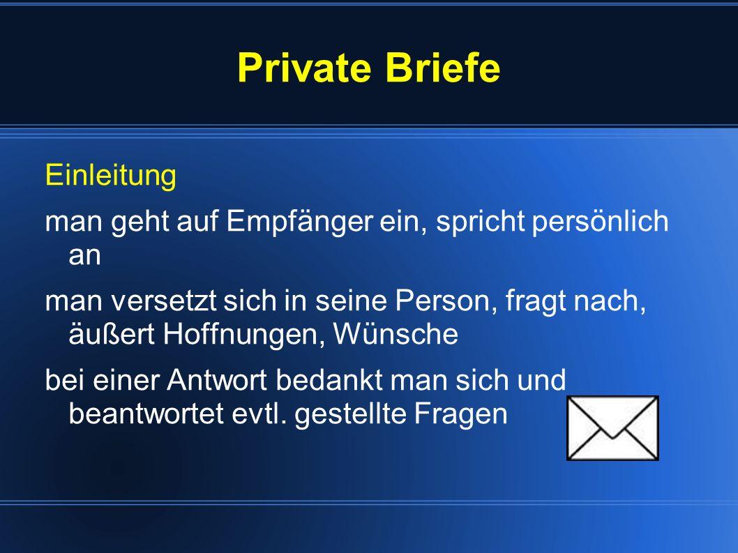 Private Briefe Einleitung