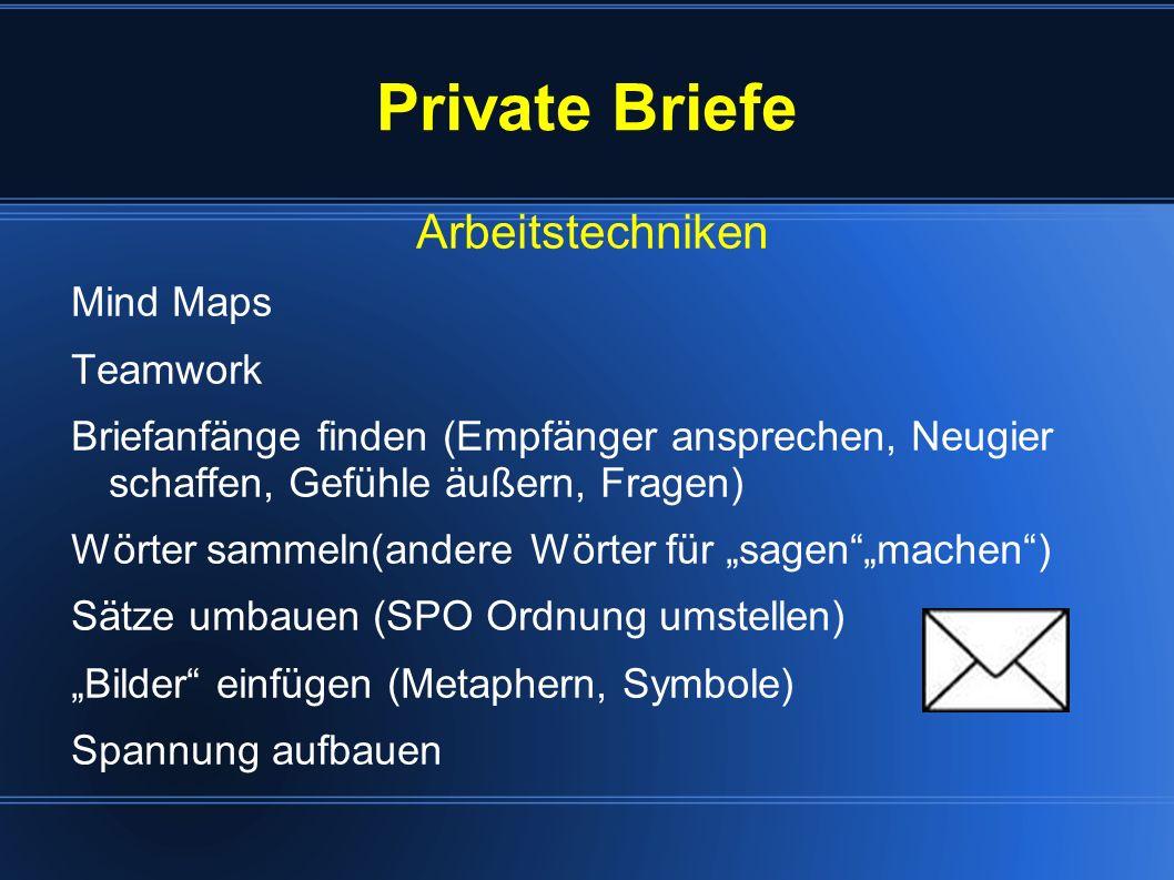 Private Briefe Arbeitstechniken Mind Maps Teamwork