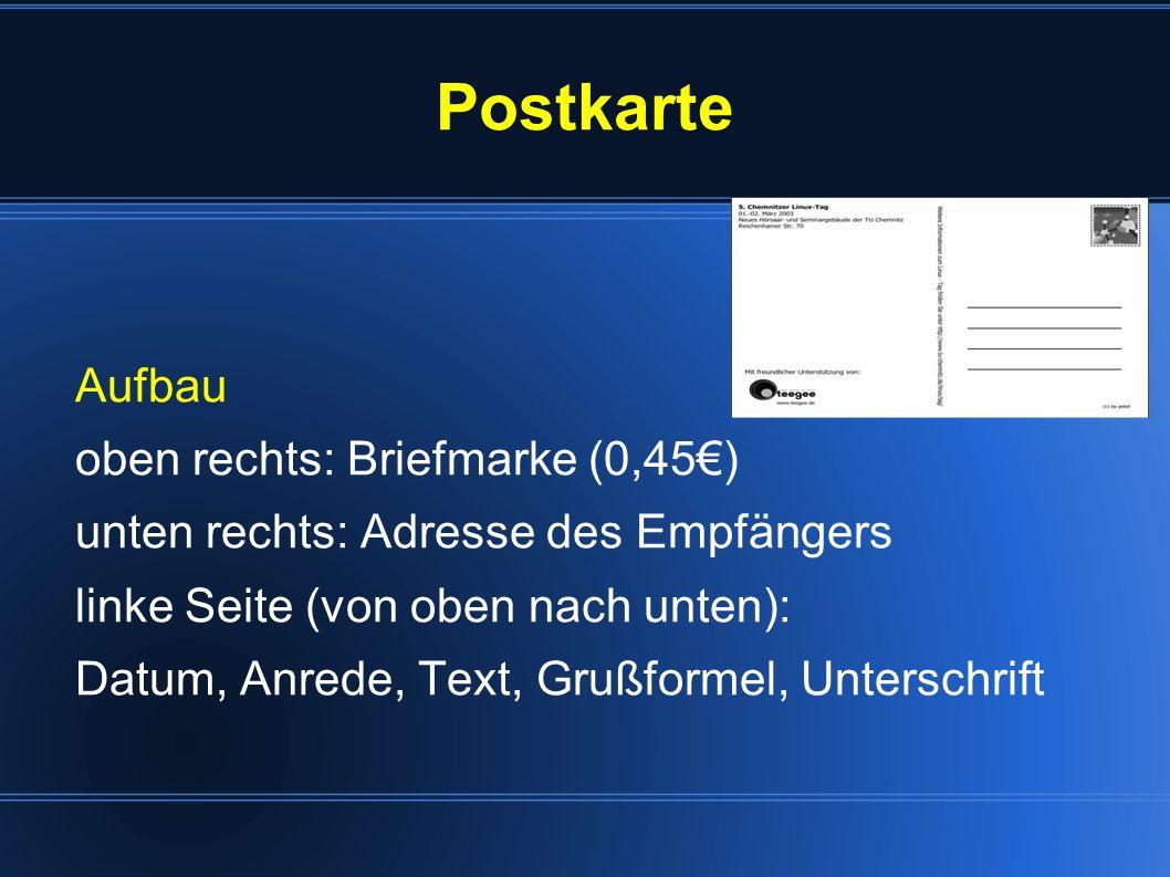Postkarte Aufbau oben rechts: Briefmarke (0,45€)