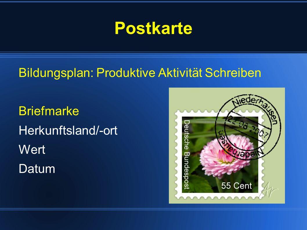 Postkarte Bildungsplan: Produktive Aktivität Schreiben Briefmarke