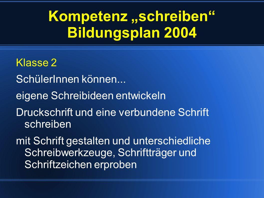 """Kompetenz """"schreiben Bildungsplan 2004"""