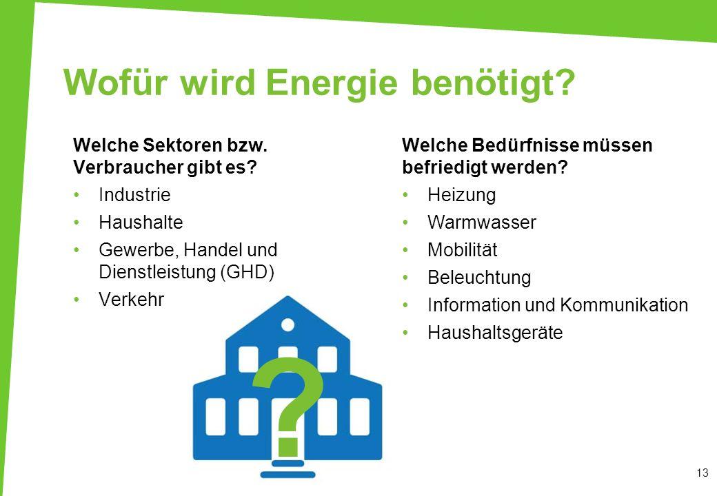 Wofür wird Energie benötigt