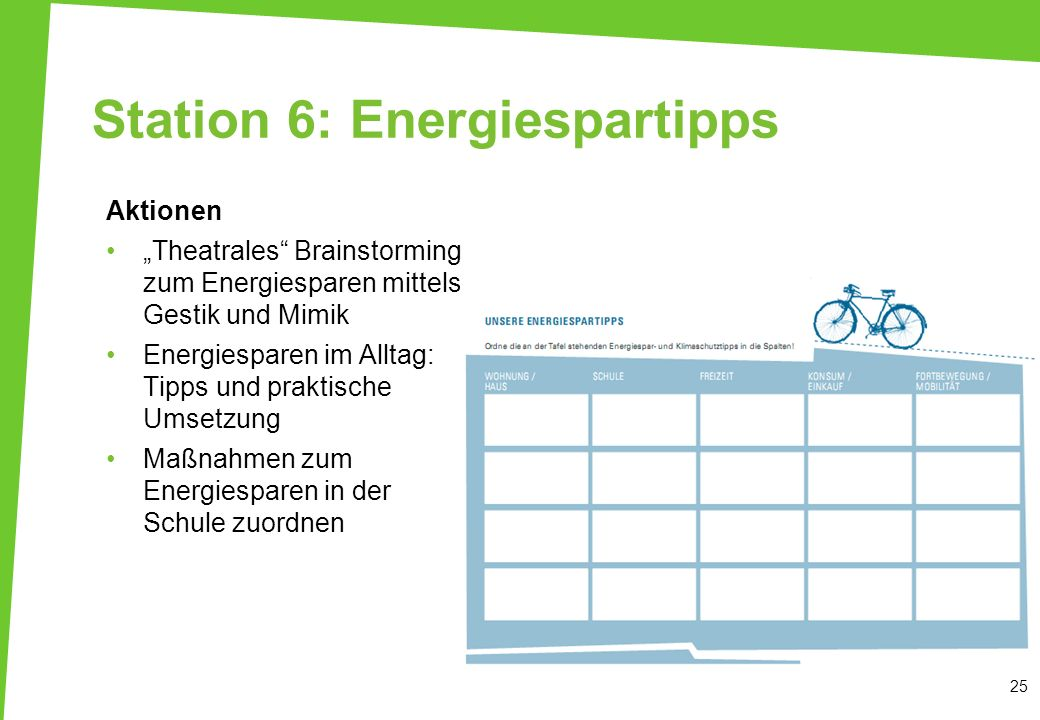 Station 6: Energiespartipps