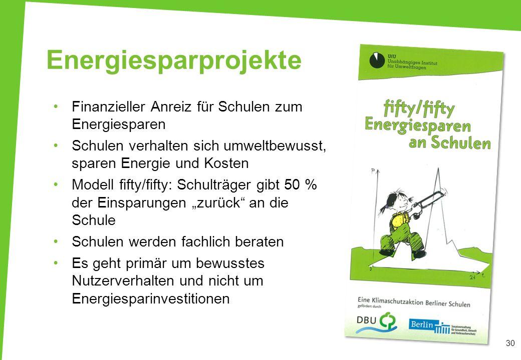 Energiesparprojekte Finanzieller Anreiz für Schulen zum Energiesparen