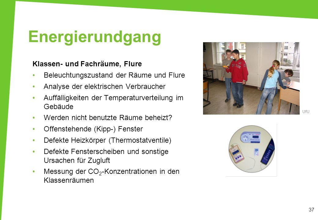 Energierundgang Klassen- und Fachräume, Flure