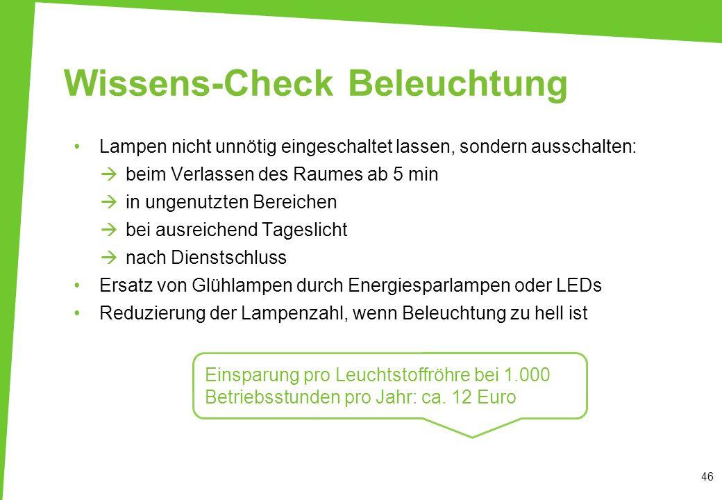 Wissens-Check Beleuchtung