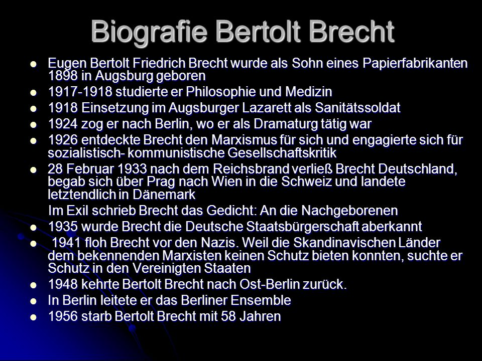 Biografie Bertolt Brecht