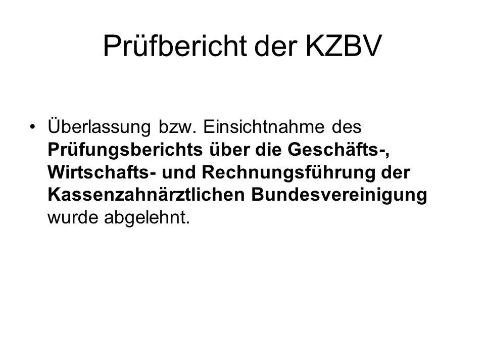 Prüfbericht der KZBV