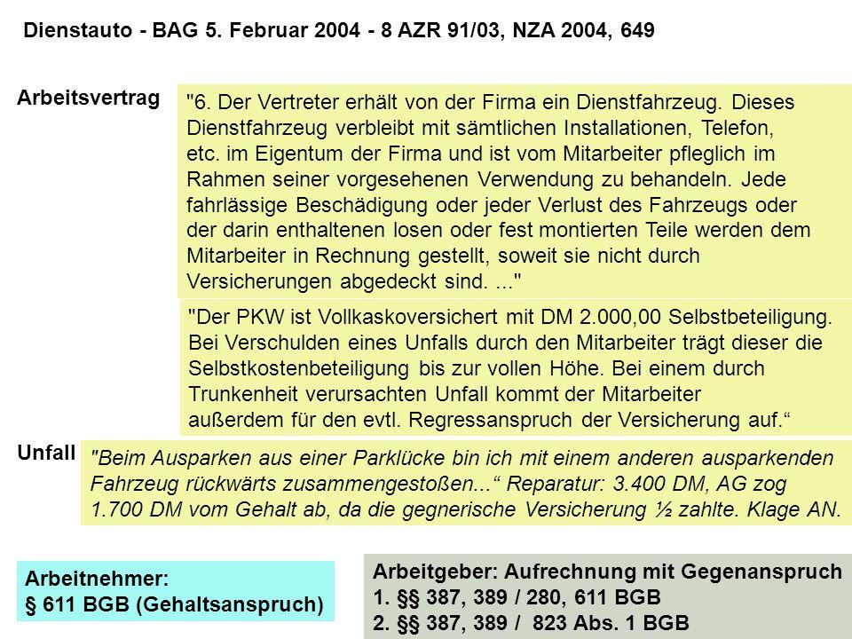Dienstauto - BAG 5. Februar 2004 - 8 AZR 91/03, NZA 2004, 649