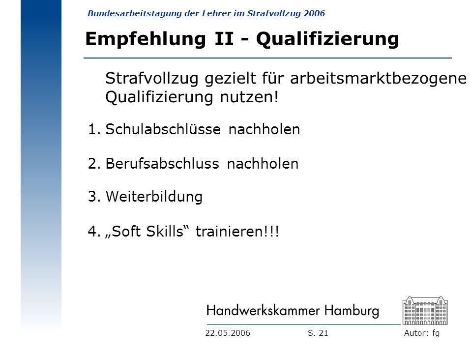 Empfehlung II - Qualifizierung