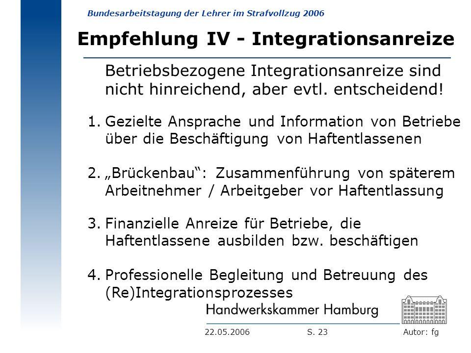 Empfehlung IV - Integrationsanreize