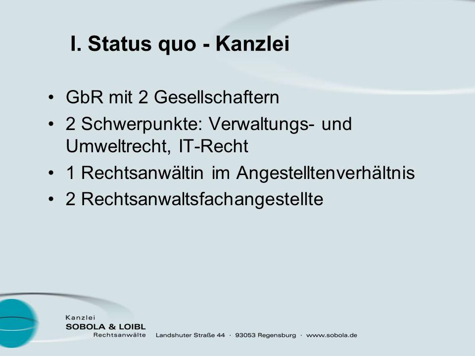 I. Status quo - Kanzlei GbR mit 2 Gesellschaftern