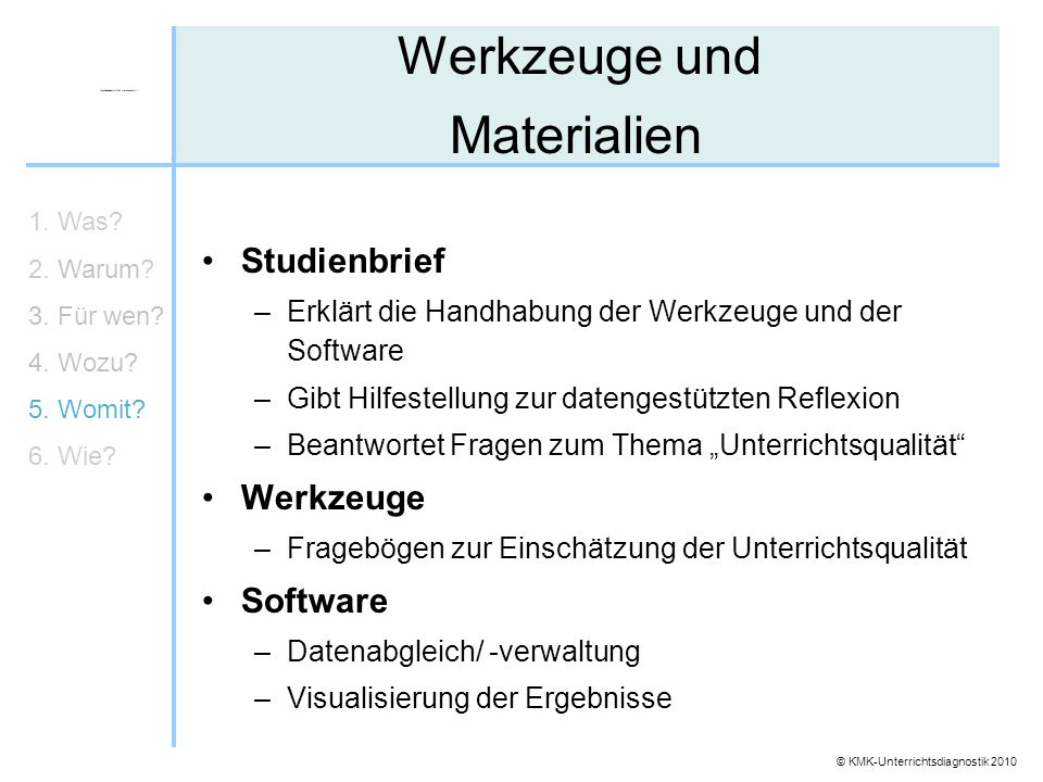 Werkzeuge und Materialien Studienbrief Werkzeuge Software