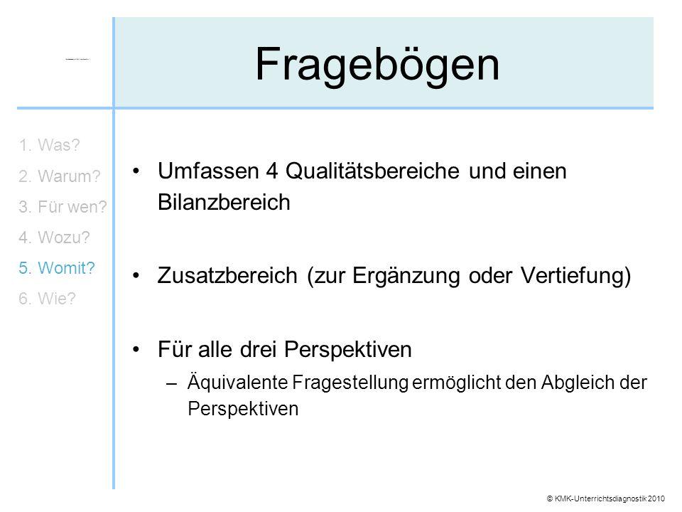 Fragebögen Umfassen 4 Qualitätsbereiche und einen Bilanzbereich