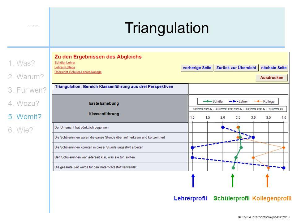 Triangulation 1. Was 2. Warum 3. Für wen 4. Wozu 5. Womit 6. Wie