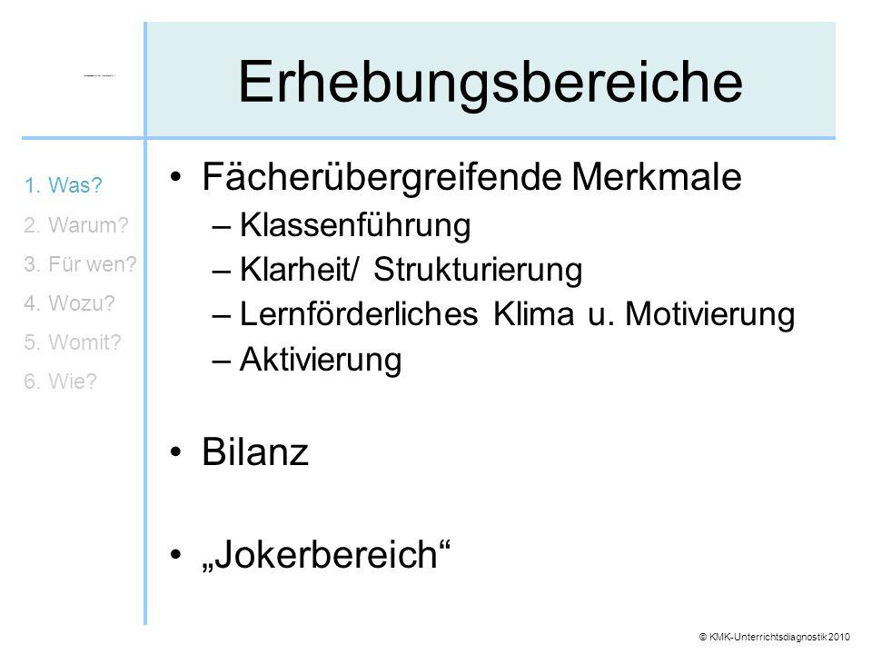 """Erhebungsbereiche Fächerübergreifende Merkmale Bilanz """"Jokerbereich"""