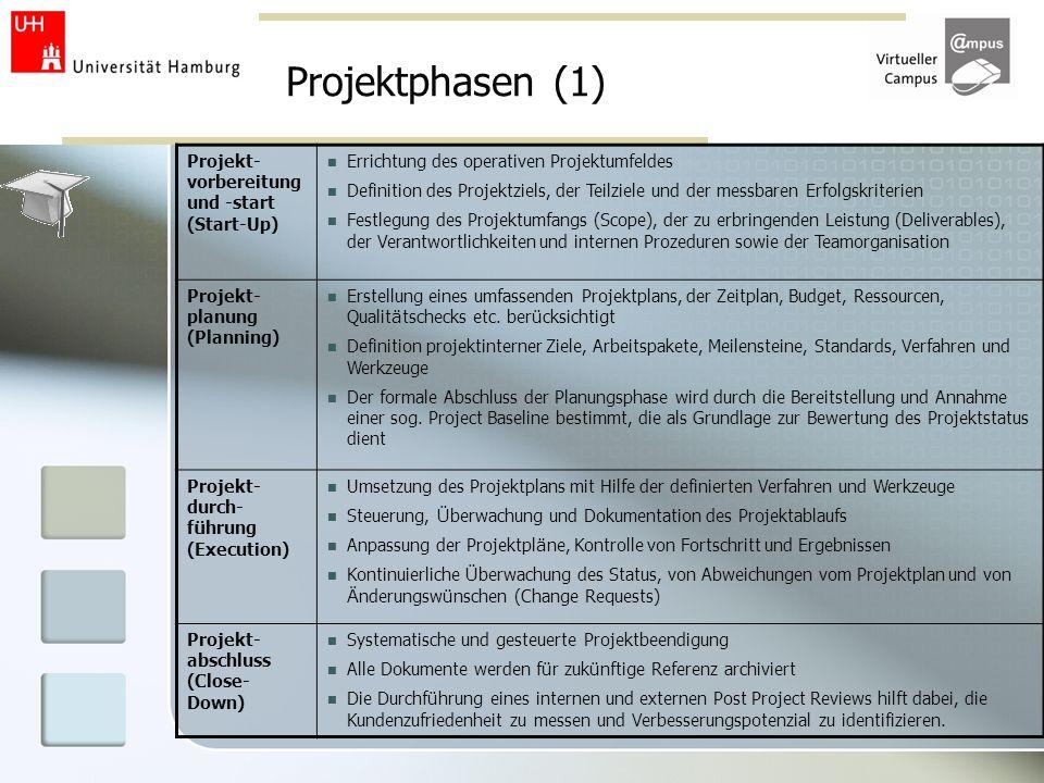 Projektphasen (1) Projekt- vorbereitung und -start (Start-Up)