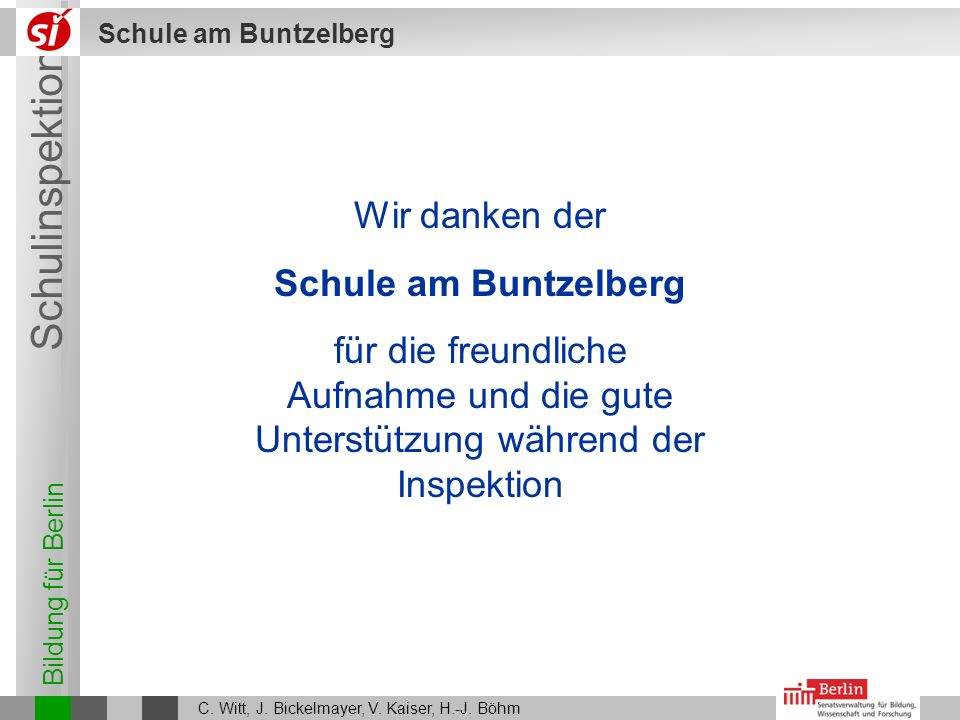 Wir danken der Schule am Buntzelberg