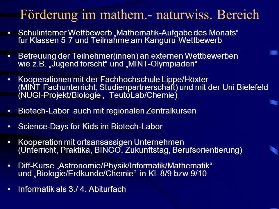 Förderung im mathem.- naturwiss. Bereich