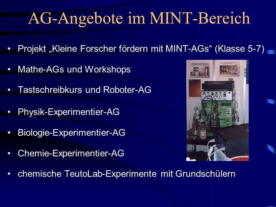 AG-Angebote im MINT-Bereich