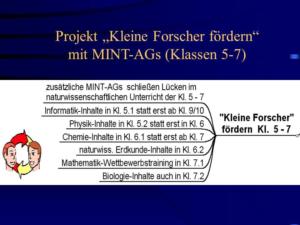 """Projekt """"Kleine Forscher fördern mit MINT-AGs (Klassen 5-7)"""