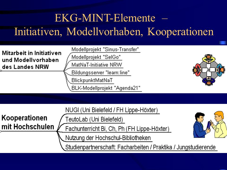 EKG-MINT-Elemente – Initiativen, Modellvorhaben, Kooperationen