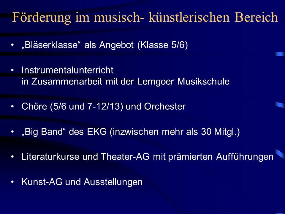 Förderung im musisch- künstlerischen Bereich