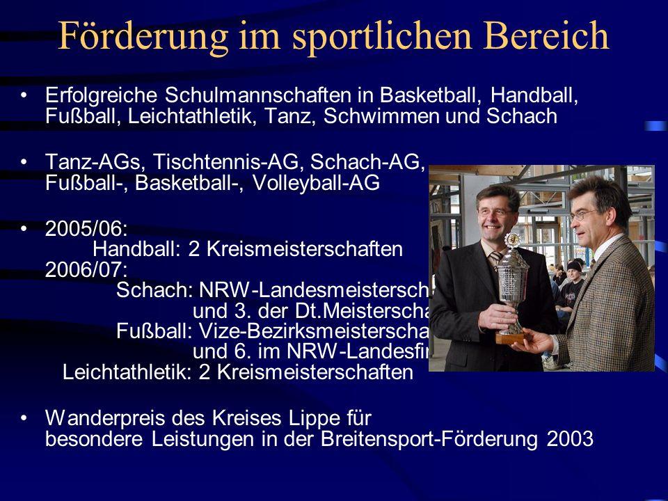 Förderung im sportlichen Bereich