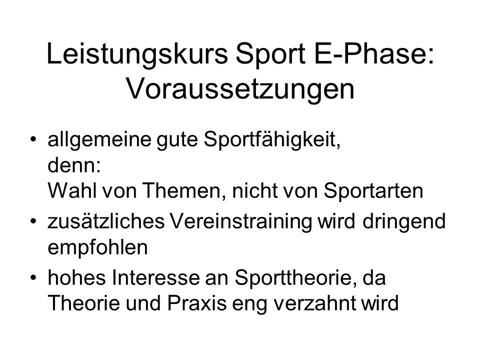 Leistungskurs Sport E-Phase: Voraussetzungen