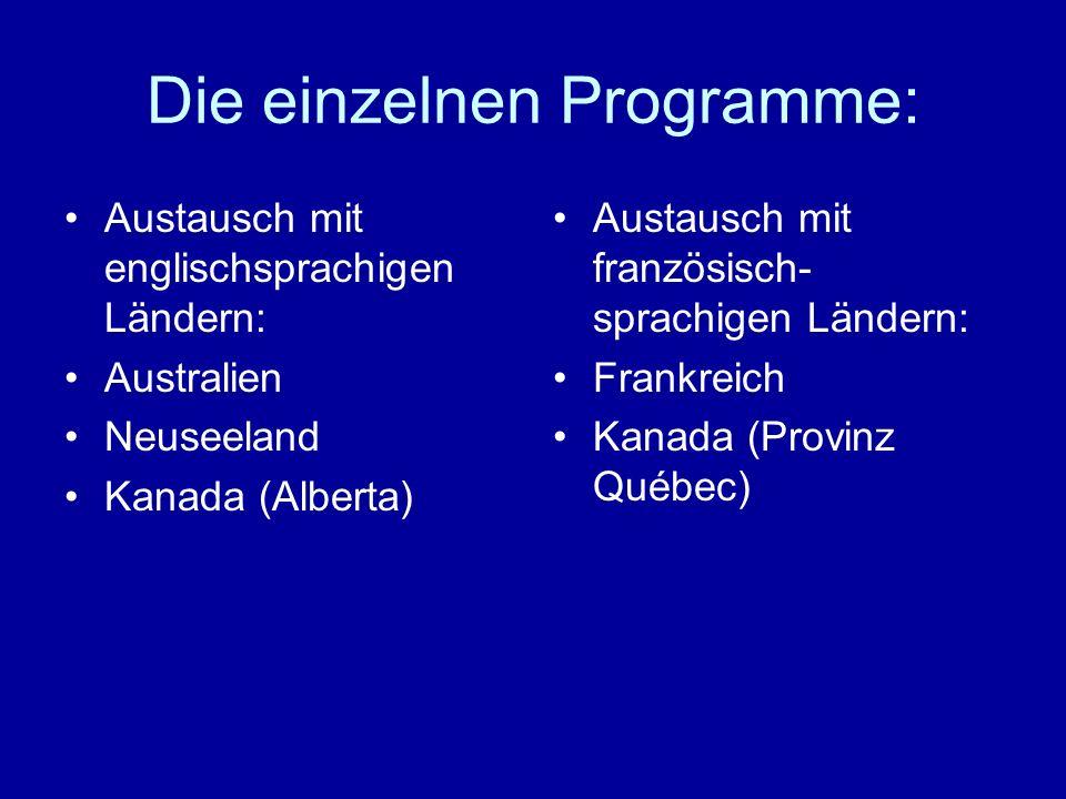 Die einzelnen Programme: