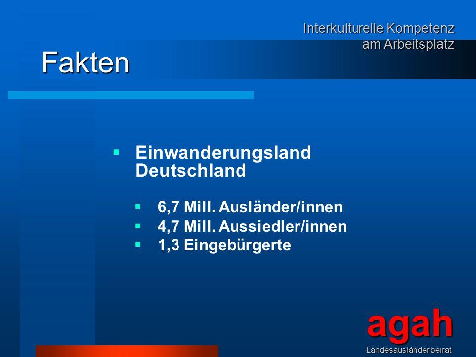 agah Fakten Einwanderungsland Deutschland 6,7 Mill. Ausländer/innen