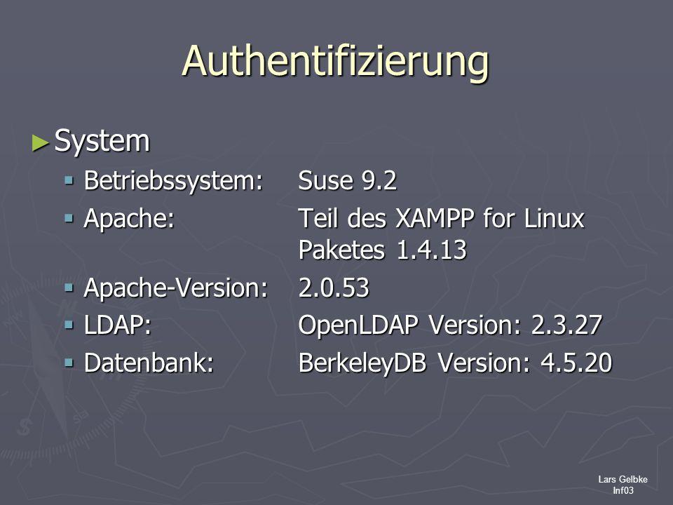 Authentifizierung System Betriebssystem: Suse 9.2