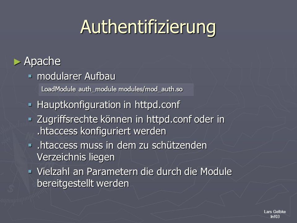 Authentifizierung Apache modularer Aufbau
