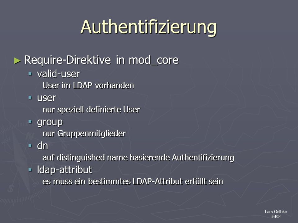 Authentifizierung Require-Direktive in mod_core valid-user user group