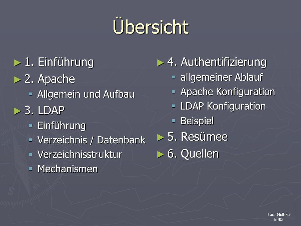 Übersicht 1. Einführung 2. Apache 3. LDAP 4. Authentifizierung