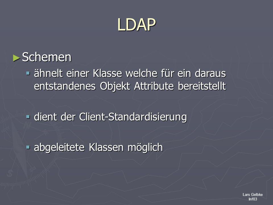 LDAPSchemen. ähnelt einer Klasse welche für ein daraus entstandenes Objekt Attribute bereitstellt. dient der Client-Standardisierung.