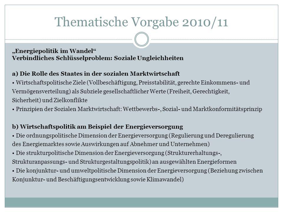 """Thematische Vorgabe 2010/11 """"Energiepolitik im Wandel"""
