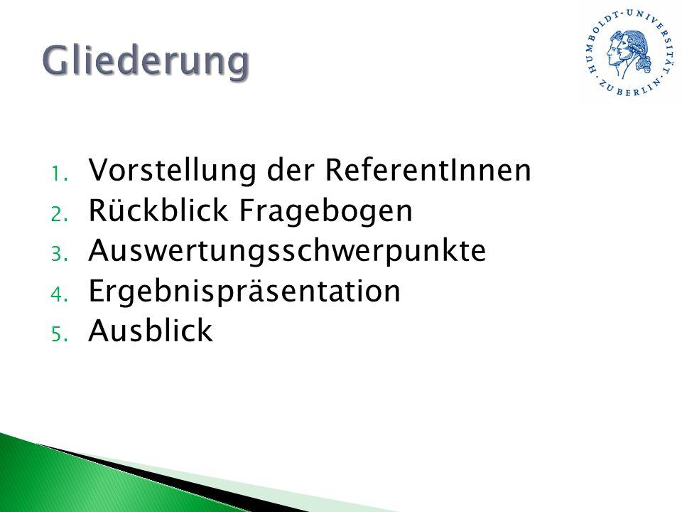 Gliederung Vorstellung der ReferentInnen Rückblick Fragebogen
