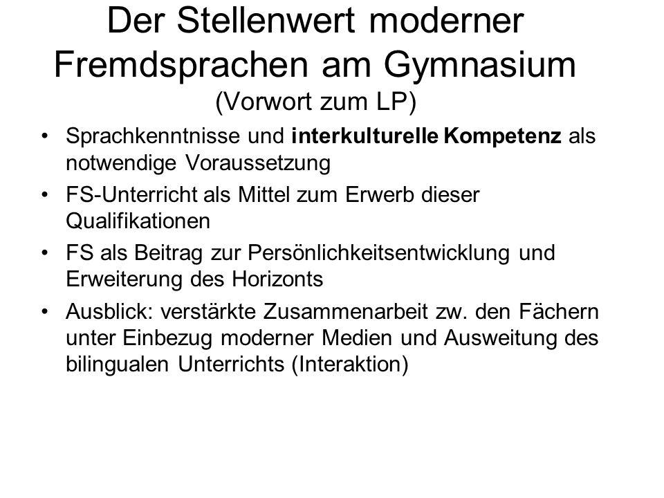 Der Stellenwert moderner Fremdsprachen am Gymnasium (Vorwort zum LP)