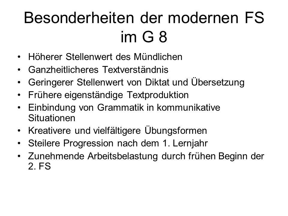 Besonderheiten der modernen FS im G 8