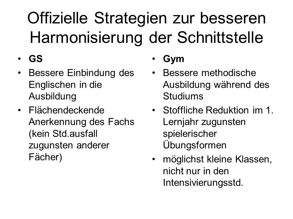 Offizielle Strategien zur besseren Harmonisierung der Schnittstelle
