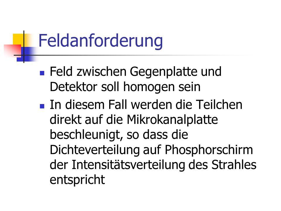 Feldanforderung Feld zwischen Gegenplatte und Detektor soll homogen sein.