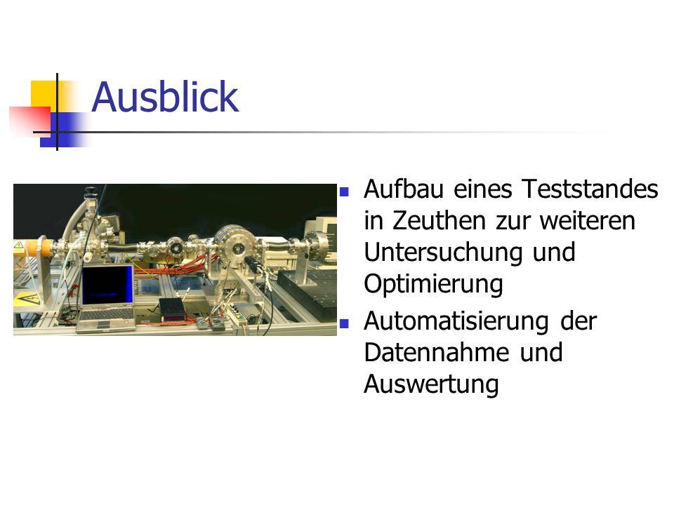 Ausblick Aufbau eines Teststandes in Zeuthen zur weiteren Untersuchung und Optimierung.
