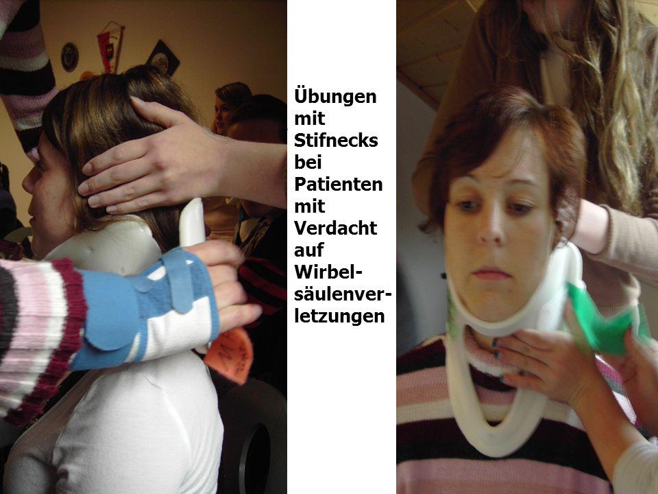 Übungen mit Stifnecks bei Patienten mit Verdacht auf Wirbel-säulenver-letzungen