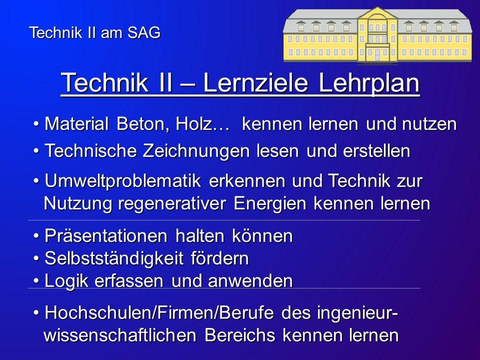 Technik II – Lernziele Lehrplan